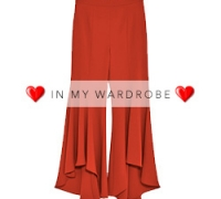 Red Asymmetric Flare Trousers