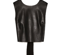 FAUX LEATHER TOP WITH BACK BOW